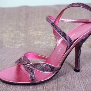 EMANUEL UNGARO Leather Sandal Snakeskin Pink Heel